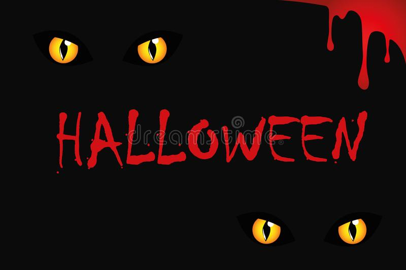 Cats eyes on halloween red blood stock illustration