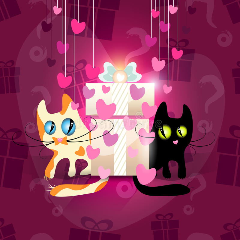 Cats falling in love stock illustration