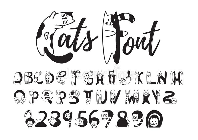 Cats font, cute black and white alphabet, numbers vector illustration