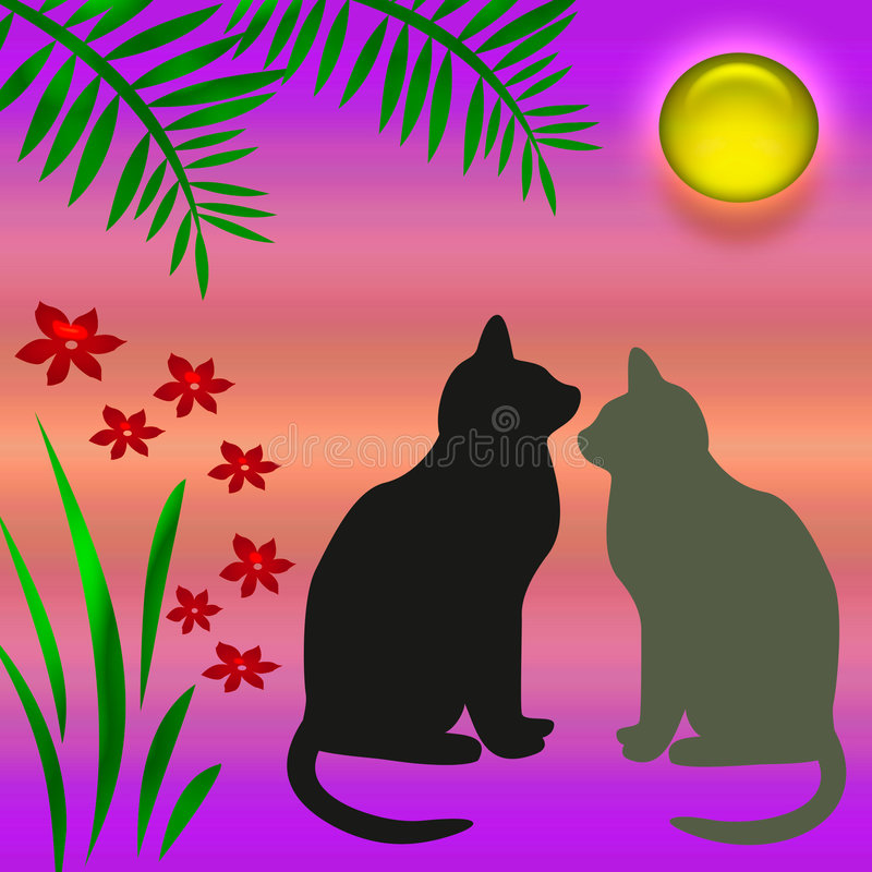 Download Cats in the garden stock illustration. Illustration of shine - 2096386
