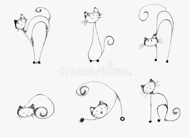 Cats. Hand-drawn cats in various positions royalty free illustration