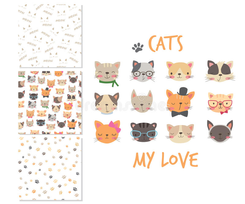 Cats heads. Cartoon surface design and 3 seamless patterns royalty free illustration