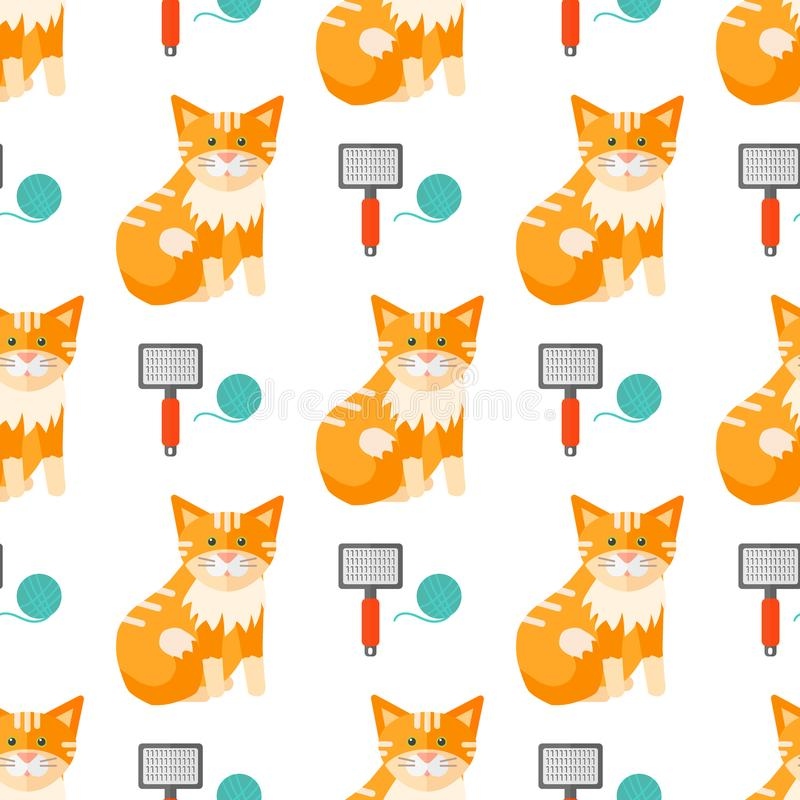 Cats heads vector illustration cute animal funny seamless pattern royalty free illustration