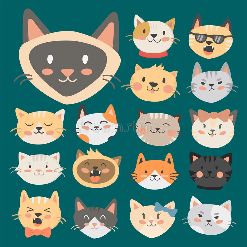 Cats heads vector illustration cute animal funny decorative characters feline domestic trendy pet drawn stock illustration