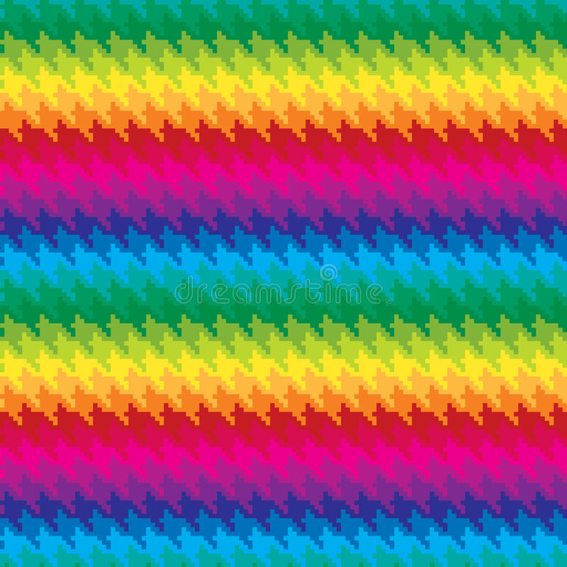 Pixel Hounds Tooth Pattern in Rainbow Colors royalty free illustration