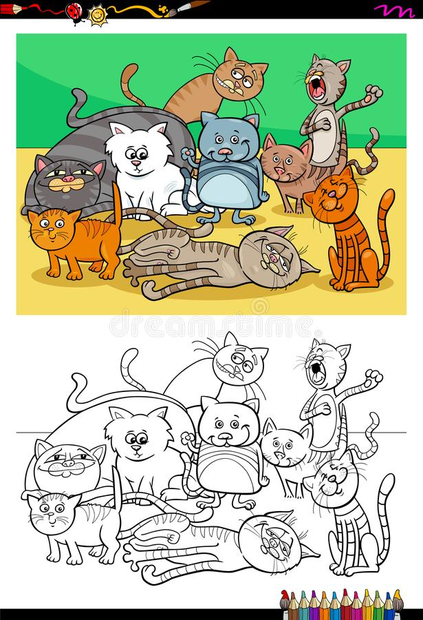 Download Cats And Kittens Characters Group Color Book Stock Vector