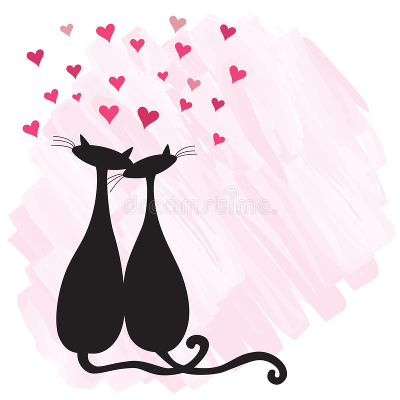 Download Cats in love stock vector. Illustration of heart, card - 12420106