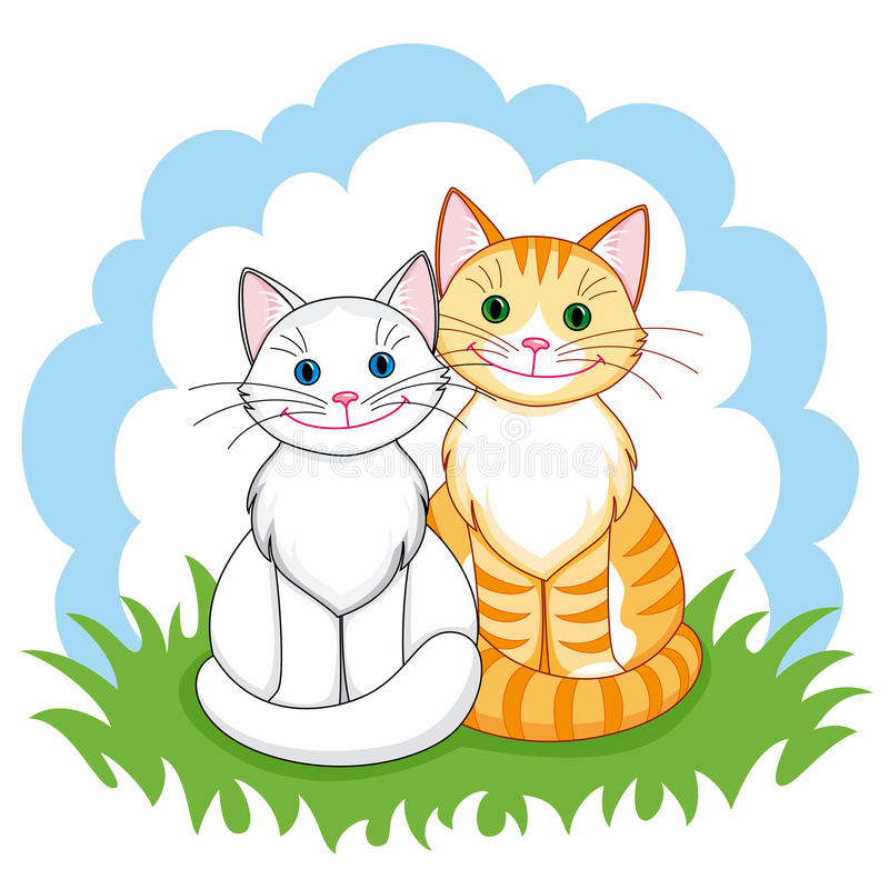 Cats in love. Couple of happy cats in love sitting closely. Vector EPS8 vector illustration