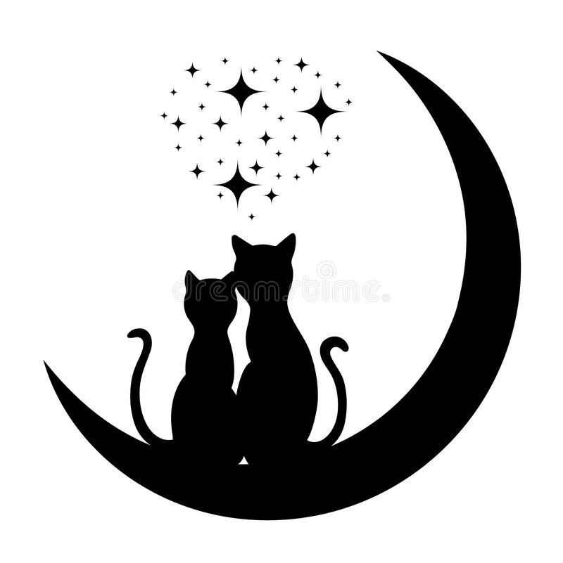 Cats in love vector illustration