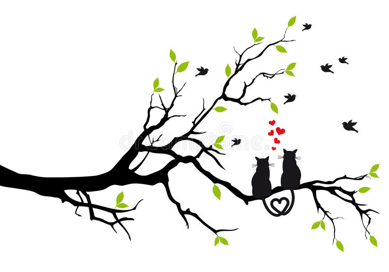 Cats in love on tree, vector stock illustration