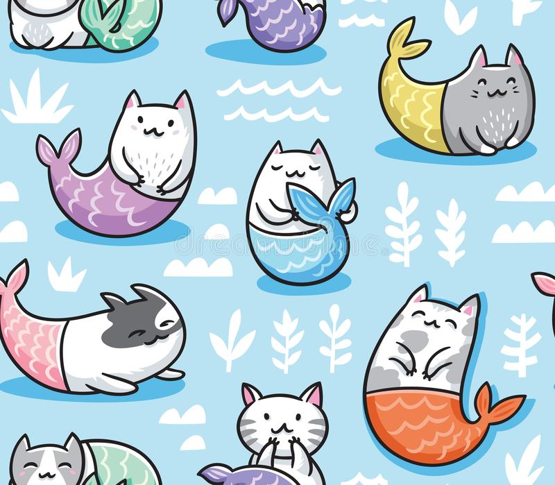 Seamless pattern with cats mermaid in kawaii style. Vector illustration royalty free illustration