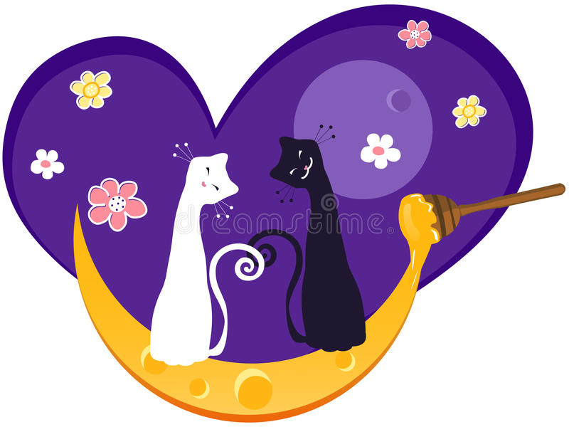 Download Cats and Moon stock vector. Illustration of fantasy, tale - 15491783