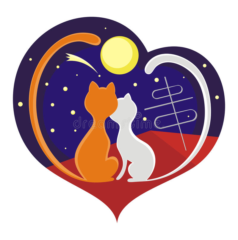Cats and moon. Cat and kitten sitting on the roof and look at the moon vector illustration