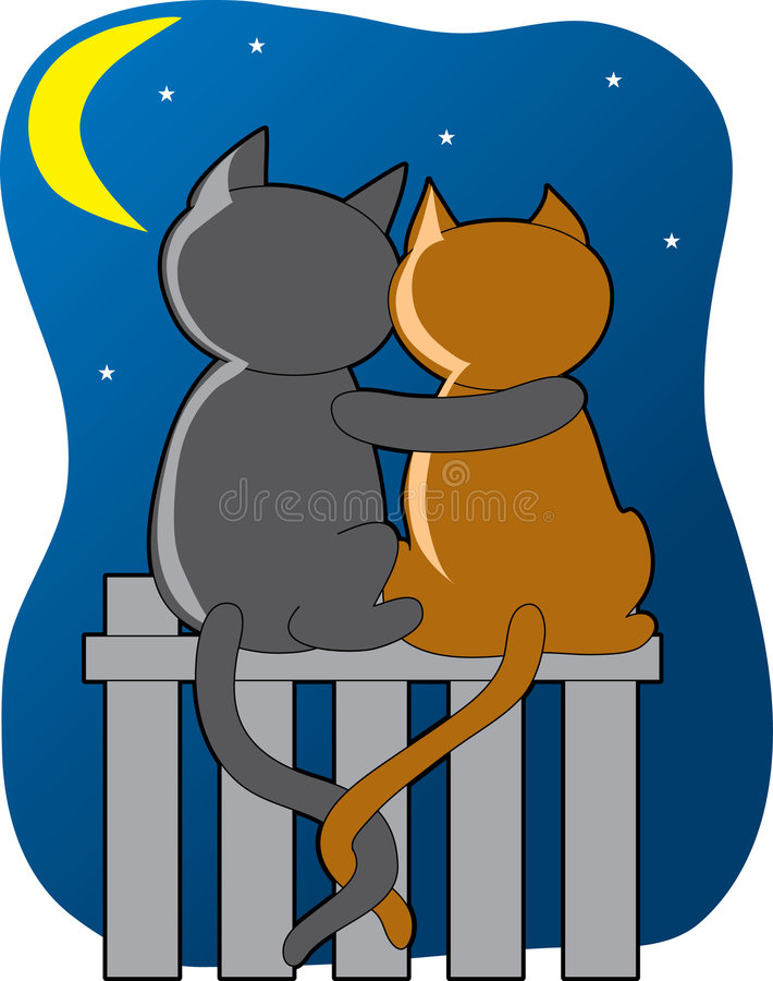 Cats in the Moonlight. Two cats sitting on a fence in the moonlight stock illustration