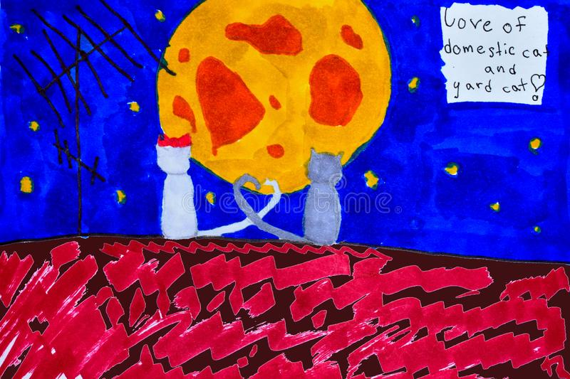 Children`s drawing with felt-tip pens. Cats at night on the roof look at the moon. Art therapy stock illustration