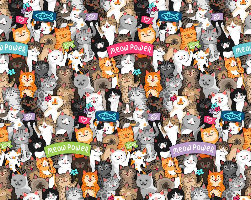 Cats parade pattern. Parade of cats with slogans. Lots of cute characters at cartoon style. Seamless multicolor pattern for textile, design and decoration stock illustration