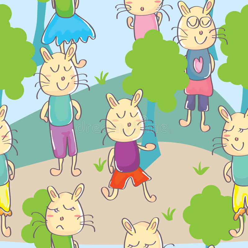 Free Cats Park Seamless Pattern_eps Royalty Free Stock Images - 28481659