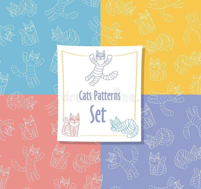 Cats Patterns Set stock photography