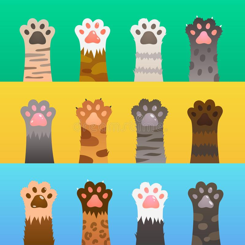 Cats paw flat. Cat paws claw hand, cartoon cute animal, fur funny wild hunter. Kitten friendship vector concept royalty free illustration