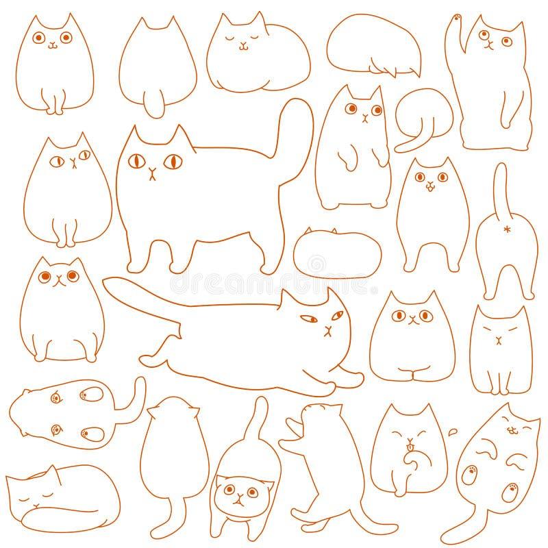 Cats posing doodle line art set. Cute cats posing doodle line art set stock illustration