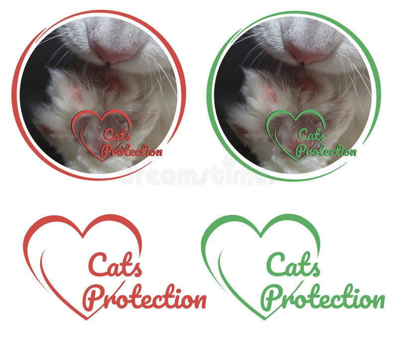 Cats protection logo with white paw cat for charitable organizations. Cats protection logo with white paw cat for charitable organizations, pet shops and vet stock photos