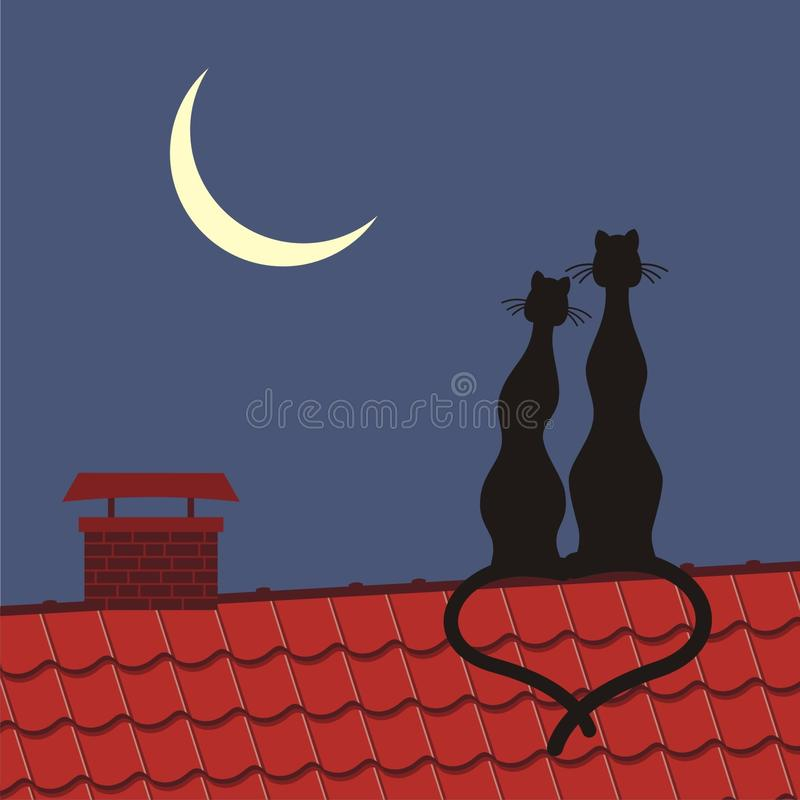 Download Cats on the roof stock vector. Illustration of beautiful - 14810859