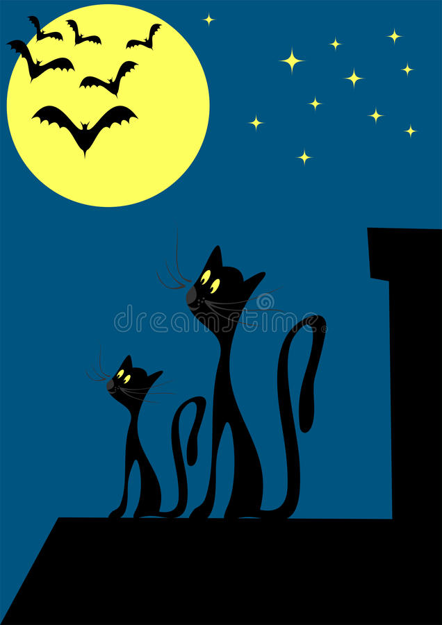 Download Cats on the roof stock vector. Image of kitten, animal - 9364266