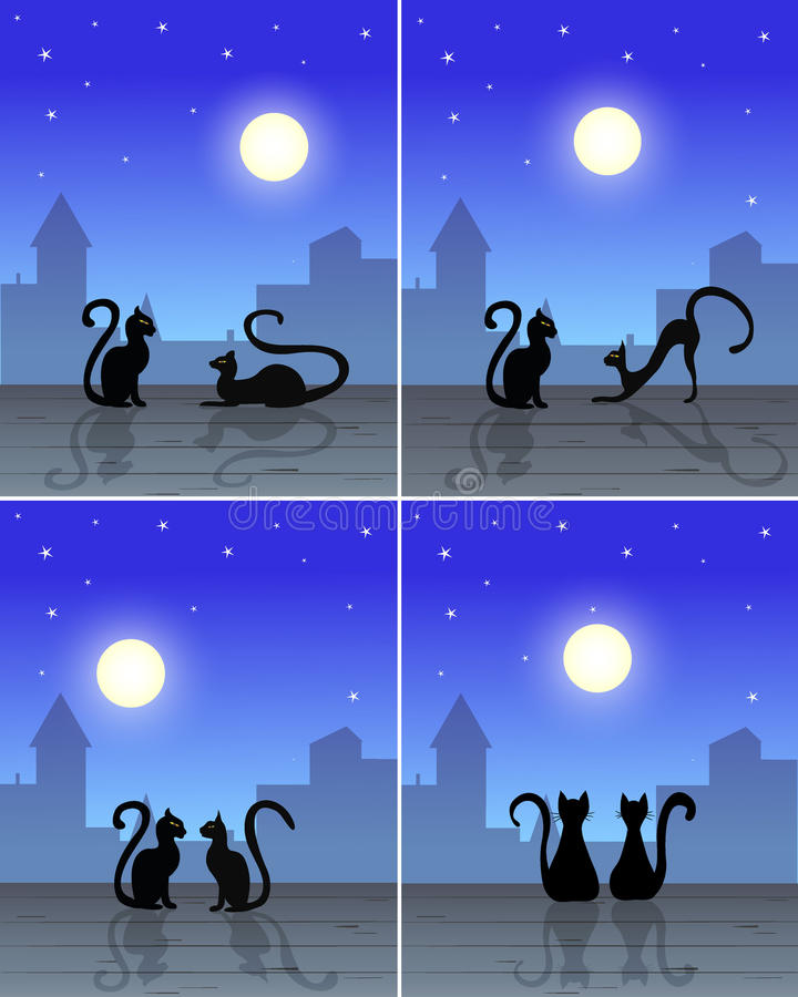 Cats on the roof. Couple cats sitting on roof, silhouette of old town, blue sky with moon and stars on background, for pictures, illustration stock illustration