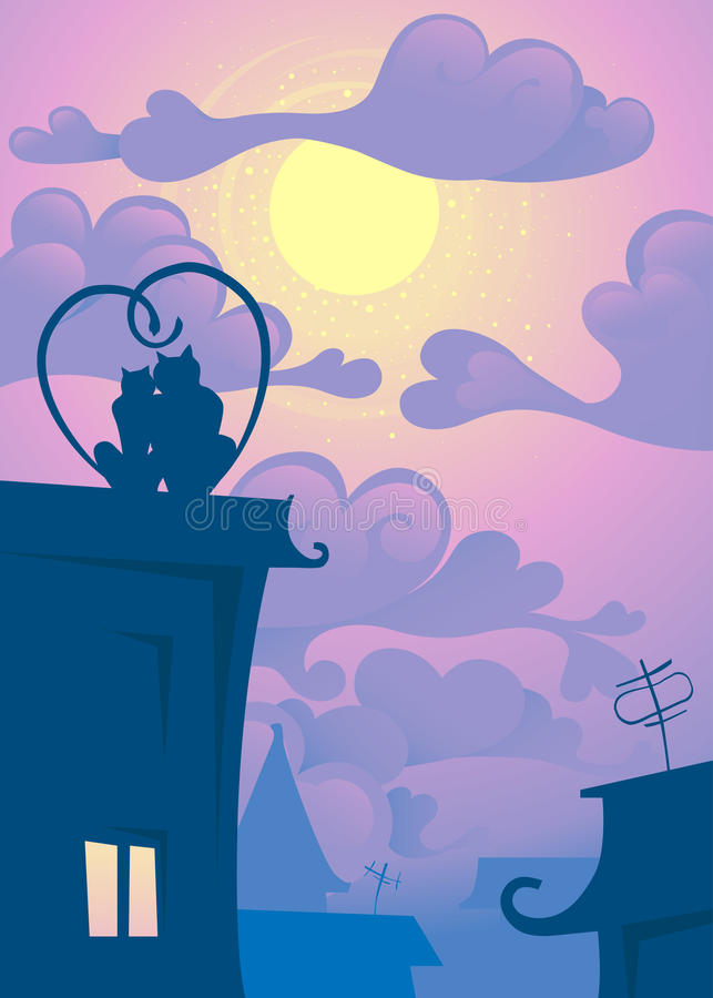 Cats on the roof. Love the cats on the roof at night look at the moon stock illustration