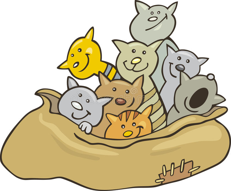 Cats in sack. Cartoon illustration of cats in sack stock illustration