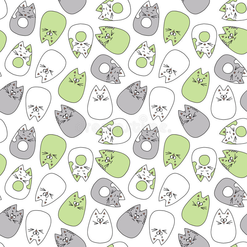 Cats seamless pattern. stock illustration