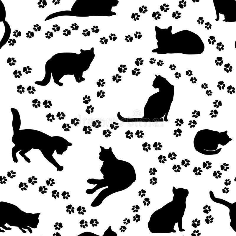 Free Cats Seamless Pattern. Kitten Silhouette Background Stock Photos - 66262573
