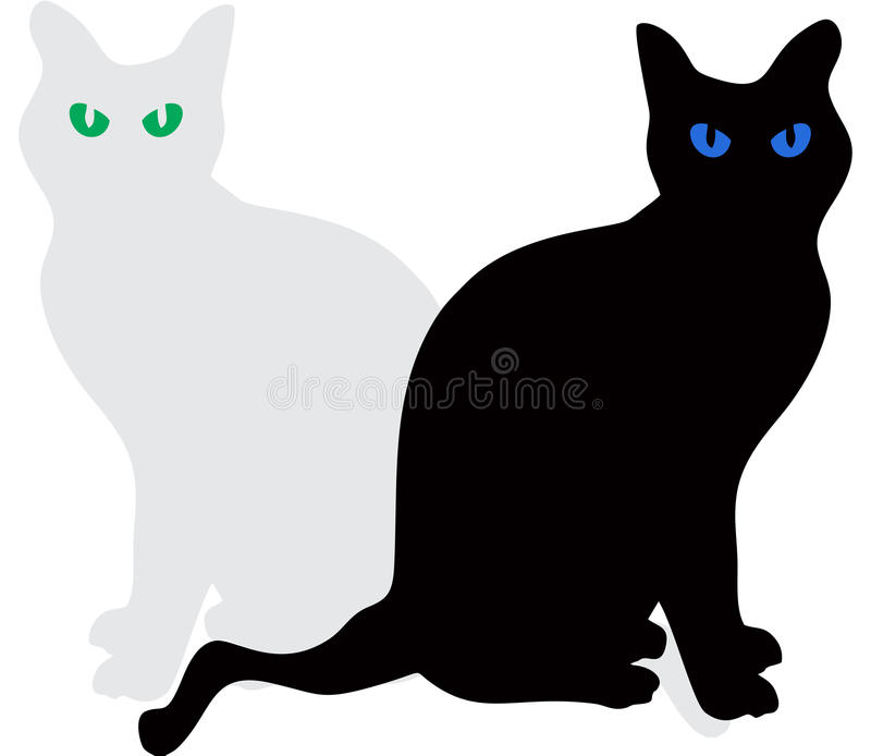 Cats seating Vector. Cats black with blue eyes and grey with green eyes seating royalty free illustration