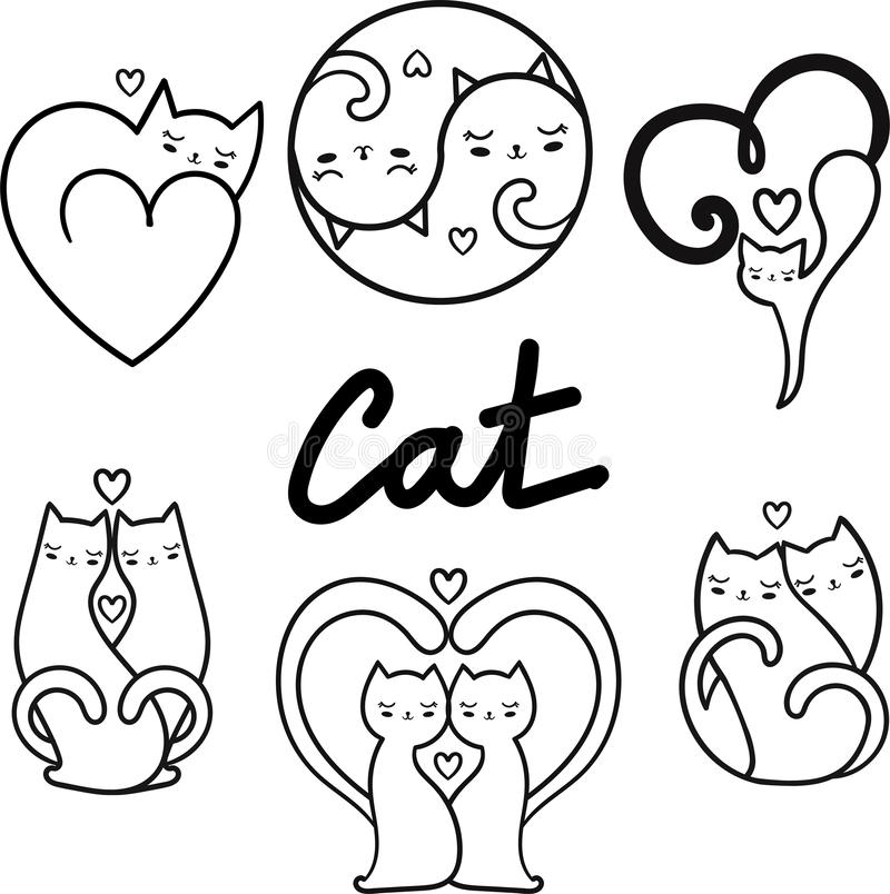 Cats set. Black and white. Vector. royalty free illustration