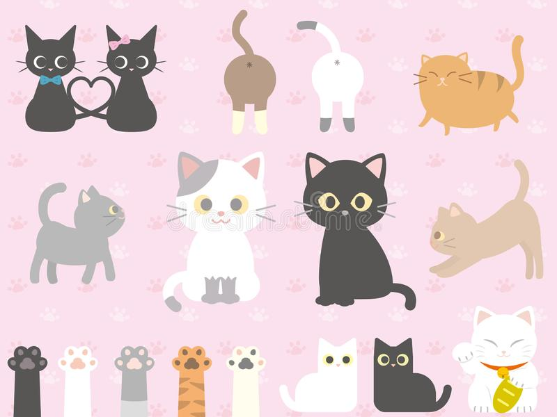 Cats set. Cute Cats icon collection set royalty free illustration