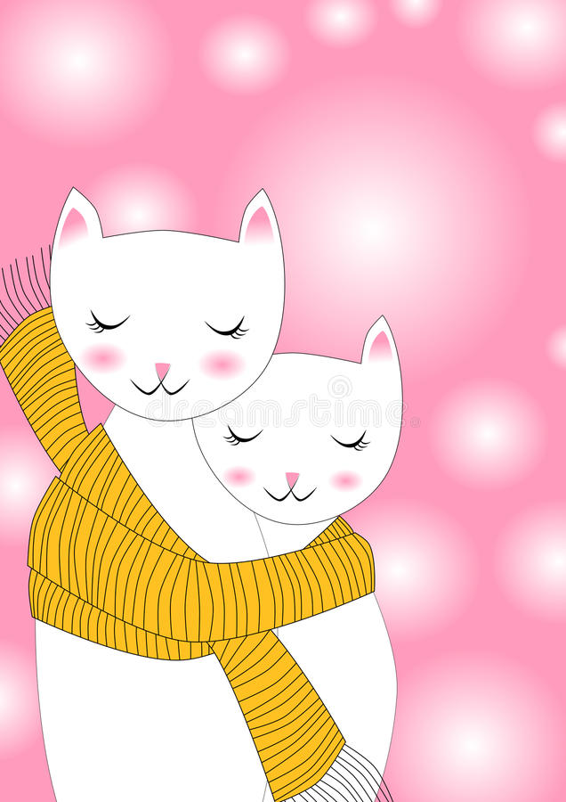 Cats sharing scarf Greeting Card. Invitation or greeting card with cats sharing a scarf. Space on the background to write message royalty free illustration