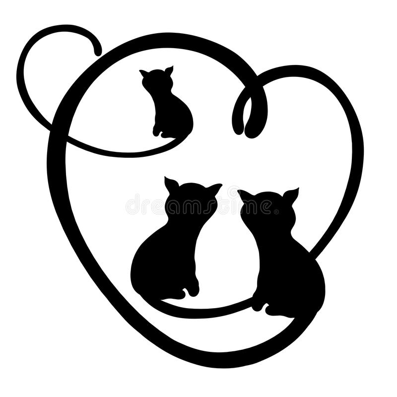 Cats, the silhouette of the family, romance and heart.  vector illustration