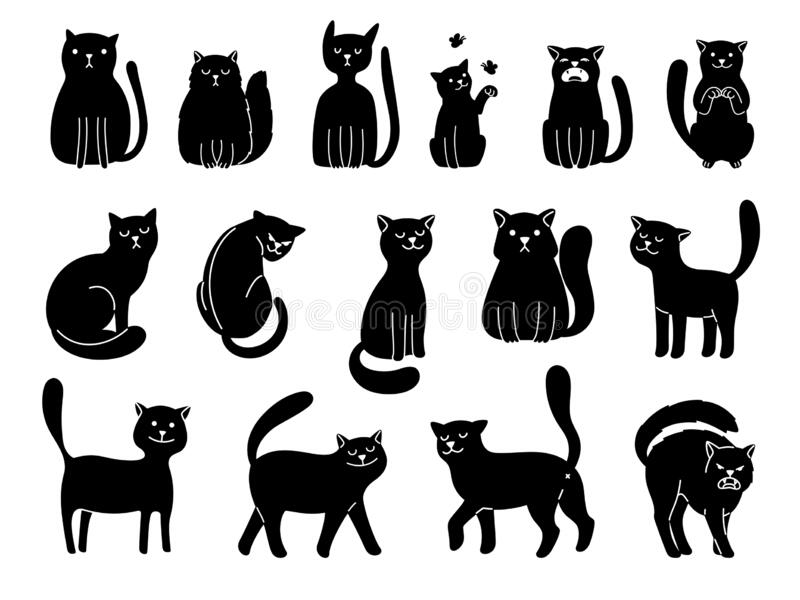 Cats silhouettes on white. Elegant cat icons, funny cartoon curiosity black animal collection vector illustration on stock illustration