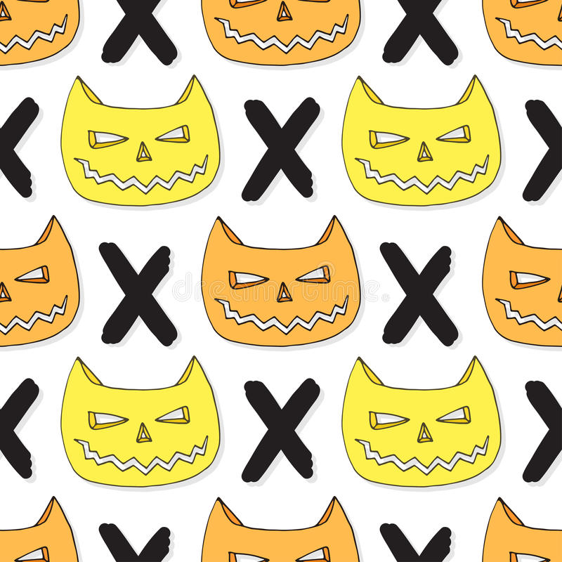 Cats skull seamless pattern. Vector halloween background. Hipster textile or wrapping paper stock illustration