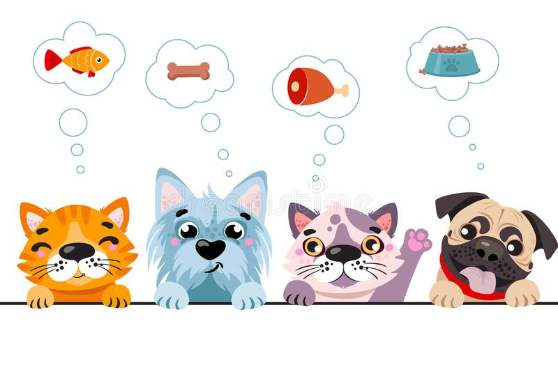 Cats and small dogs border set. Funny dog and cute cat best friends. royalty free illustration