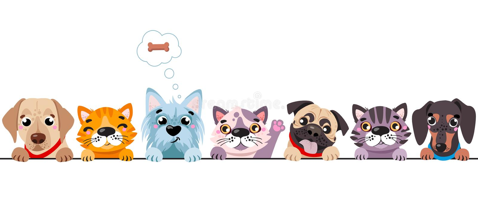 Cats and small dogs border set. Funny dog and cute cat best friends. Happy friendship day. stock illustration