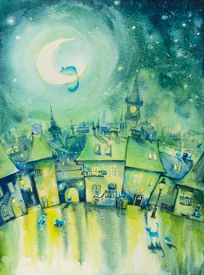 Cats town. At night.Picture created with watercolors vector illustration