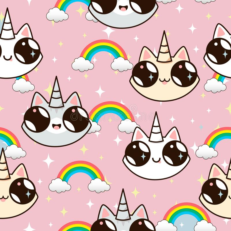 Cats unicorns and a rainbow. unicorn cats on a pink background. vector illustration