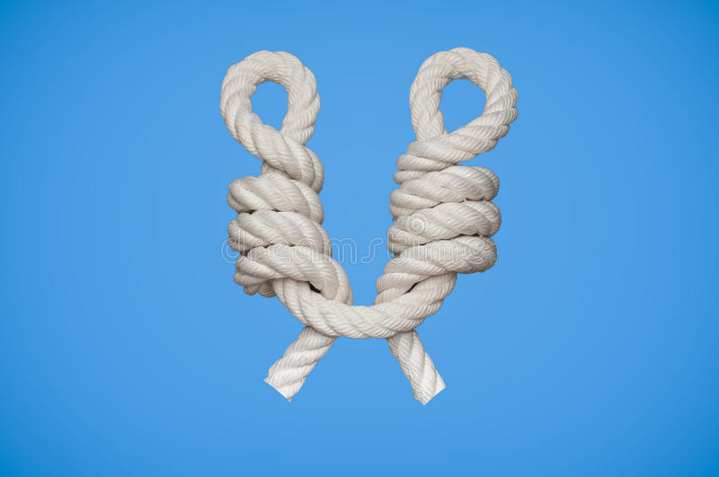 CatsPaw Knot. The Cat´s Paw knot is a knot used for connecting a rope to an object royalty free stock image