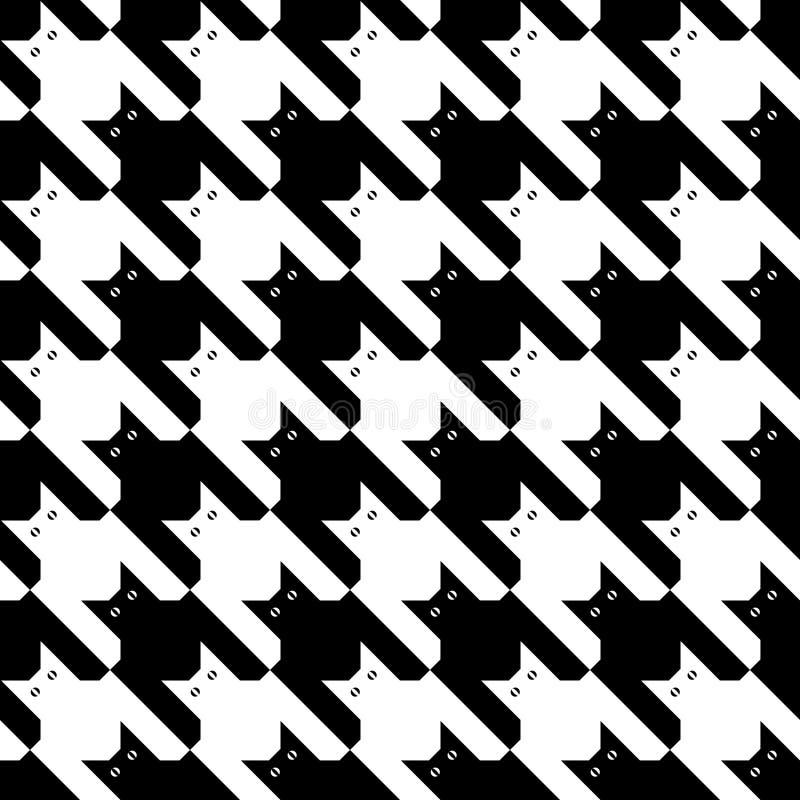 CatsTooth Pattern_Black-White ilustração do vetor