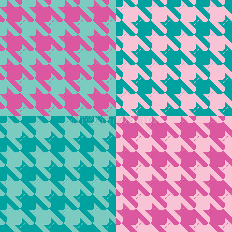 CatsTooth Pattern_Pink-Mint royalty free illustration
