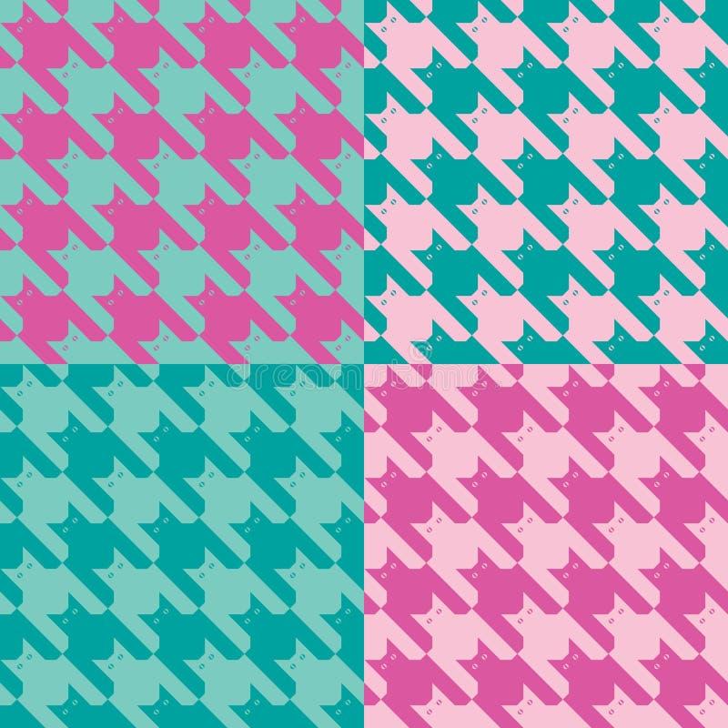 CatsTooth Pattern_Pink-Mint royalty-vrije illustratie