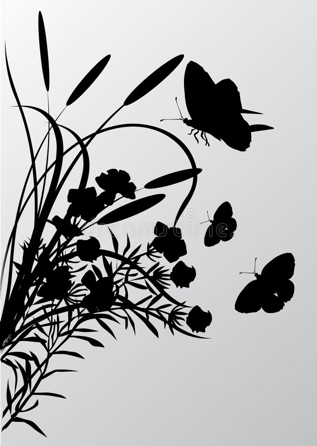 Download Cattail And Butterflies Silhouettes Stock Illustration - Illustration: 7949510