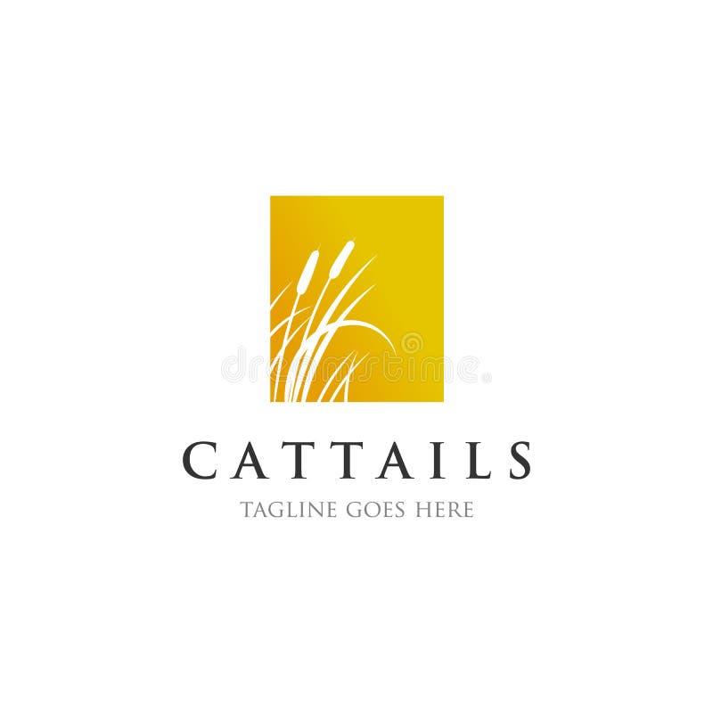 Cattails/riet de inspiraties van embleemontwerpen stock illustratie
