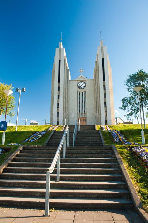 Cattedrale in Akureyri fotografie stock libere da diritti